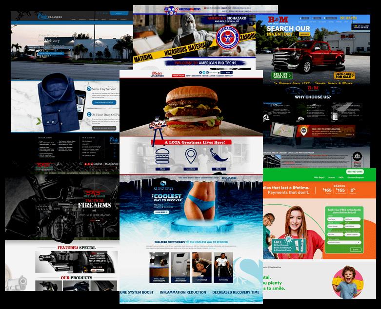Collage of websites developed